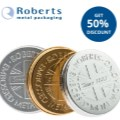 Roberts Metal Packaging offers 50% discount on embossing