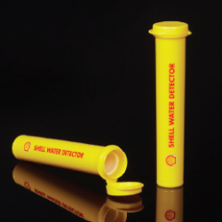 Shell water detector - Desiccant-lined vial negates need for sachet insert