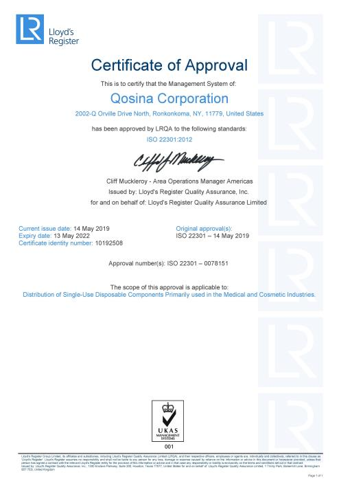Qosina receives ISO 22301 certification for Business Continuity