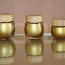 Glass jar with bamboo cap