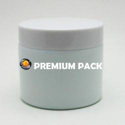White glass jar with plastic cap