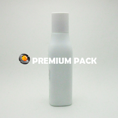 White glass bottle with plastic cap