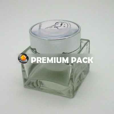 Square glass jar with white inner & silver cap