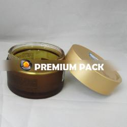 Amber jar with aluminum cap