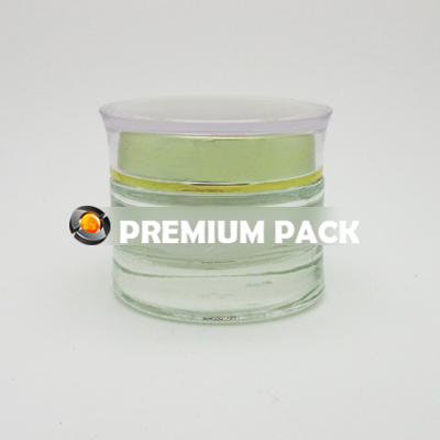 Glass jar with acrylic cap with shiny silver/gold ring