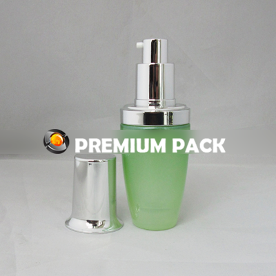 Green LAN bottle with shiny silver pump & cap