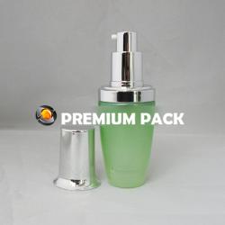 Green LAN bottle with shiny silver pump & cap