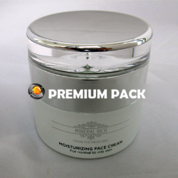 White glass jar with acrylic shiny silver cap
