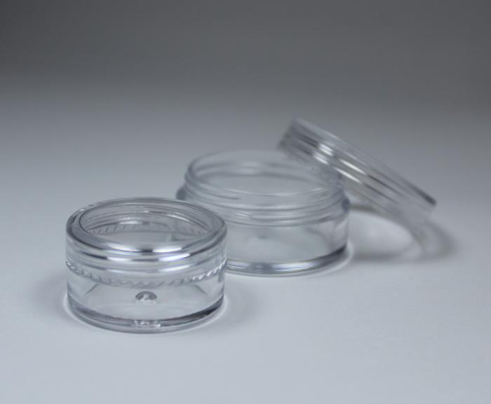 Classic design, transparent small jar. Cosmetics sampling or/and makeup container solution