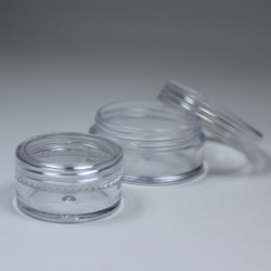 Classic design, transparent small jar. Cosmetics sampling or/and makeup container solution