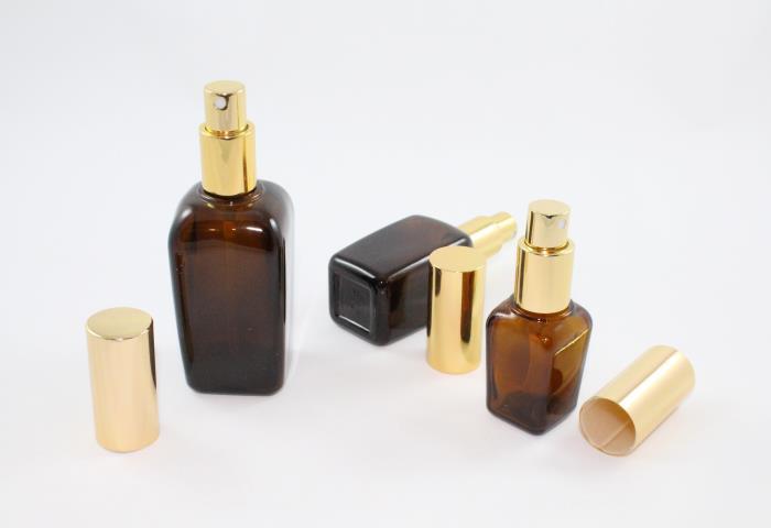 25 ml, 50 ml & 100 ml amber glass bottles with an aluminum sprayer