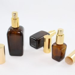 25 ml, 50 ml & 100 ml amber glass bottles with an aluminum sprayer