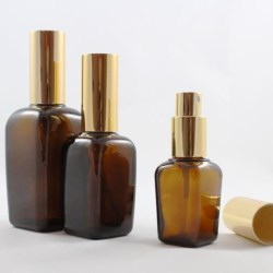 Amber glass bottle with mist sprayer