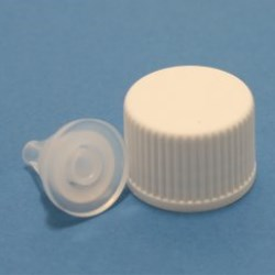 DIN 18mm White Ribbed Cap with Dropper Insert