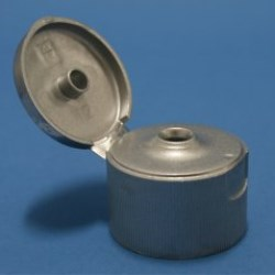 28mm 410 Silver Ribbed Flip Top Cap with Bore Seal