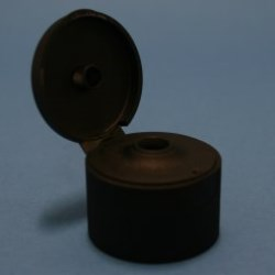 28mm 410 Black Ribbed Flip Top Cap with Bore Seal