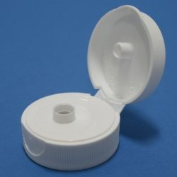 33mm 400 White Ribbed Flip Top Cap with Induction Heat Seal Liner
