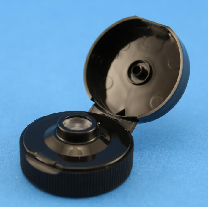 38mm 400 Black Flip Top Unlined Cap with Valve Seal