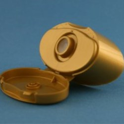 27mm Gold Flip Top Tamper Evident Snap On Cap with 5.5mm Valve