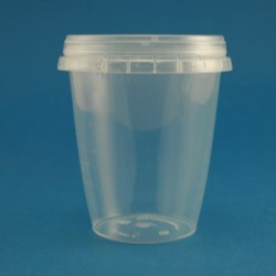 330ml Natural Polypropylene Tapered Tub with Tamper Evident Cap