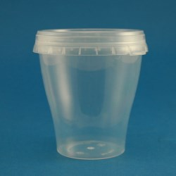 290ml Natural Polypropylene Tapered Tub with Tamper Evident Cap