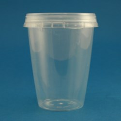 400ml Natural Polypropylene Tapered Tub with Tamper Evident Cap