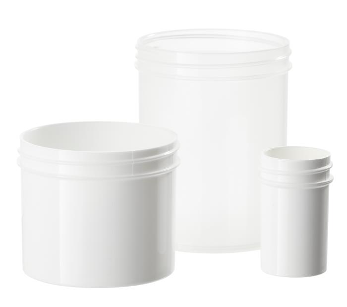 Simplicity Wide Mouth Regular Walled Polypropylene and Polystyrene Jars