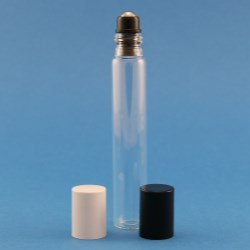 30ml Clear Glass Tubular Roller Bottle with screw neck and holder with stainless steel ball