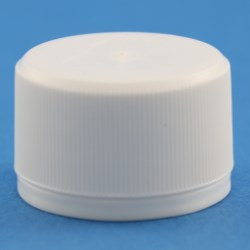 28mm White Ribbed Tamper Evident Cap with boreseal