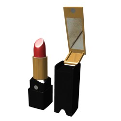 Lipstick with flip-up mirror in cap