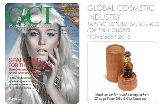Wood veneer for round packaging from Chicago Paper Tube & Can company