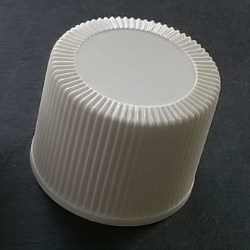 Screw cap PP, ø 24, white, childproof CRC, second version millerighe, with PE liner 0,8 mm