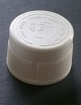 Screw cap PP, ø 24, white, childproof CRC, first version, with PE liner 1,5 mm, with safegard