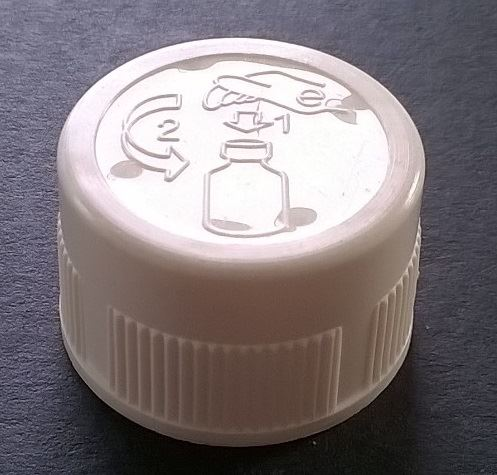 Screw cap PP, ø 28, white. Childproof CRC, with PE liner 1,5 mm