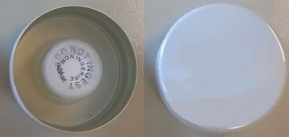 Desiccant cap alu ø 31 white, with TE + container PE with white brown silica gel 1 gr