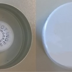 Desiccant cap alu ø 38 white, with TE + container PE  with brown silica gel 1,2 gr