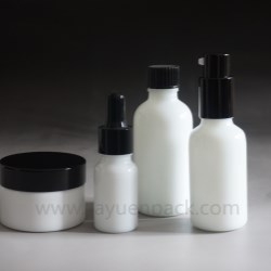 Opal white glass cosmetic bottle & jar is all the go