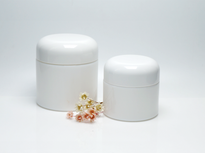 Opal white glass bottles & jars for clinical, medical, skin care, and cosmeceutical products