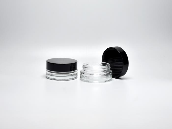Glass makeup jars with screw cap