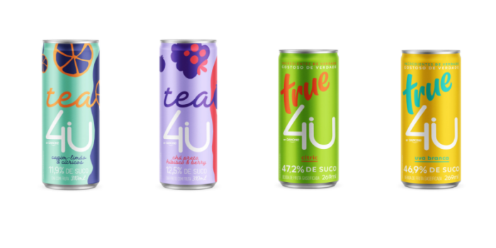 "Danone unveils new ""4U"" line of carbonated juices and teas in Brazil in Sleek Style beverage cans from Crown"