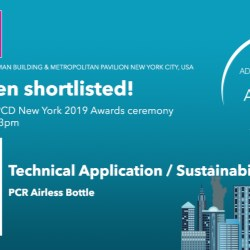 PCR Airless Bottle shortlisted for 2019 ADF & PCD New York Innovation Awards