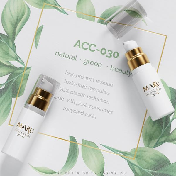 The 30 ml Eco Airless Bottle, MARU, stands with natural and green brands