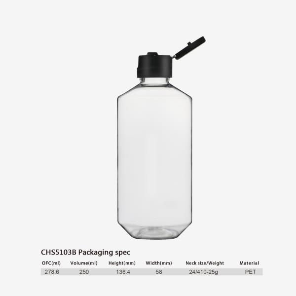 250 ml PET bottle-24/410-flip top cap (in New Jersey, USA)