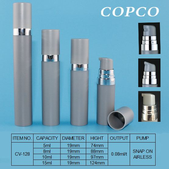 Small capacity airless bottle for travel or sample packs
