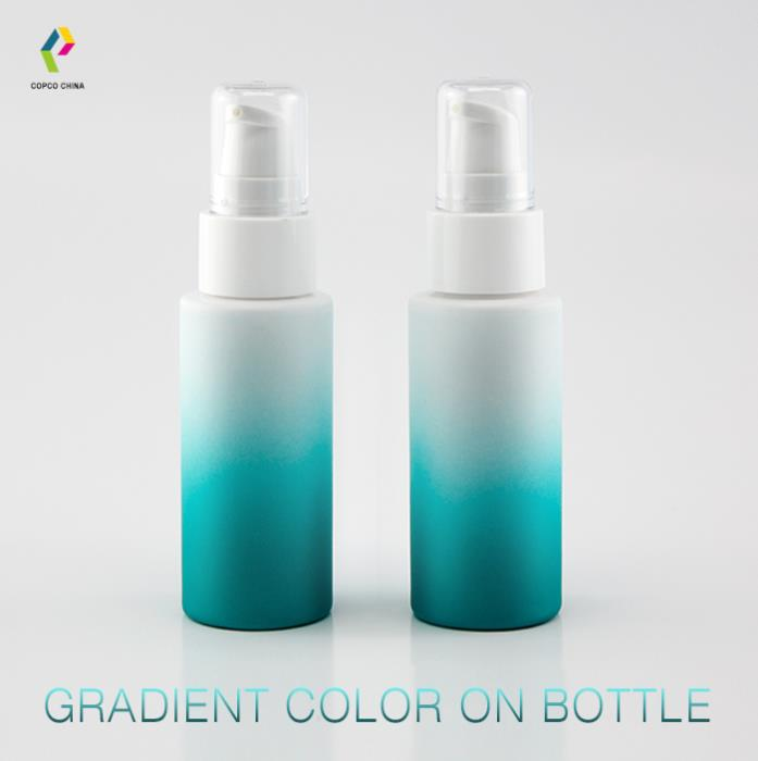 Gradient color spray on PET bottle