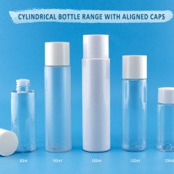Cylindrical Bottle with Aligned Caps