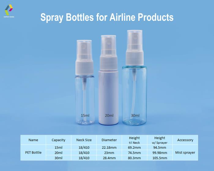 Spray bottles prove ideal for airline products