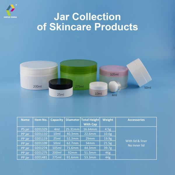 An affordable plastic jar collection for skincare products