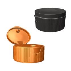 Ribbed, round flip-top cap
