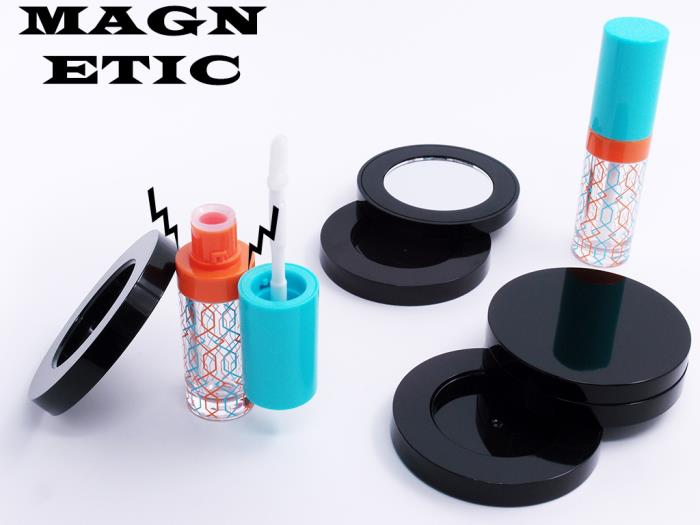 Magnetic closure collection: lipgloss packaging & makeup compact